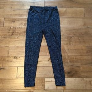 H&M + (Plus) Sparkly Black And Silver Leggings